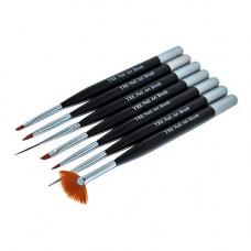 YRE B-45 Набор кистей для рисования 7шт черная ручка